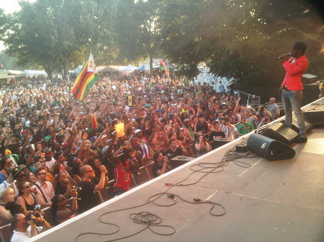 Dancehall star, Popcaan engages the multicultural crowd at SummerJam 2013 in Germany as part of his summer tour of Europe.