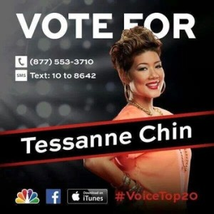 Tessanne Chin hopes with your vote to make it to the final 12 of 'The Voice' following her first liver performance on Monday night..