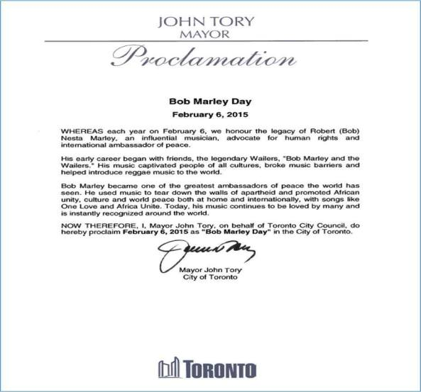 Bob Marley Day in Toronto