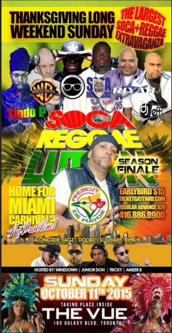 DE MAYOR PRESENTS... SOCA REGGAELUTION SEASON FINALE OCT 11 @ THE VUE